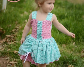 Country Farm Collection Pink and Aqua Bandana Poppy Peekaboo Dress - Sizes 12 mos girls size 16 infants toddlers girls tweens