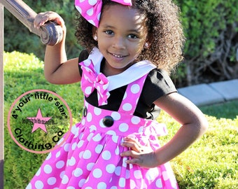 Disney Inspired Minnie Mouse Pink & White polka dot Outfit Peter Pan Collar blouse with Suspender skirt toddlers, girls  6/12 m to 10/12