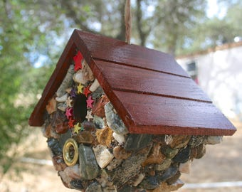 Birdhouse Hanging Functional Outdoor Unique Stone Covered Birdhouse