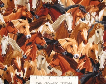 Animal Fabric - Rustic Packed Horses - Timeless Treasures YARD