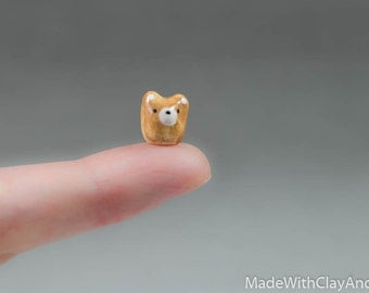 Micro Brown Bear - Terrarium Figurine - Miniature Ceramic Porcelain Animal Sculpture Pocket Totem - Hand Sculpted