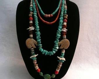 Native American Style Gemstone Zuni Turtle Fetish and Heishi Southwestern Necklace Only