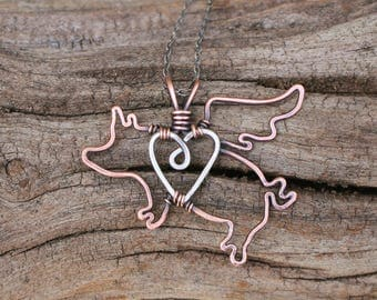 Flying Pig Necklace, Copper, Sterling Silver, Heart, Love, Wire Jewelry