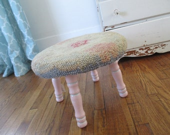 Vintage Hand Hooked Wool Foot Stool * Shabby Chic * Pink * French Cottage * Footstool