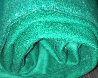 1 1/8 yards 54 wide green medium weight wool Fabric