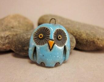 Turquoise Blue Owl...Raku Pendant