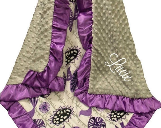 Photoprop CLEARANCE Floral Aviary Design Purple and Navy Minky Baby Blanket, Lavender Swaddle Blanket
