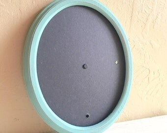 Turquoise Painted Wood Oval Picture Frame 8x10 Aqua Distressed