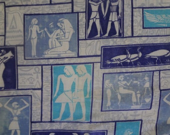 Vintage 1950s Egyptian Theme Novelty Print Cotton Fabric in Blues and White, 3 +yards