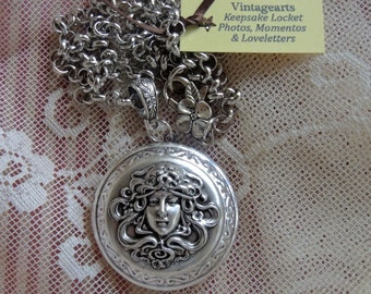 Silver Art Nouveau Keepsake Locket - Photos, Mementos And Love Letters, New Moms, Wedding Shower Gift, Bridesmaid Gift - REDUCED