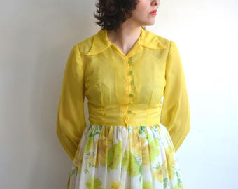 Vintage 70s Sheer Floral Maxi Dress/ Chiffon Long Sleeve Yellow Boho Spring/ medium