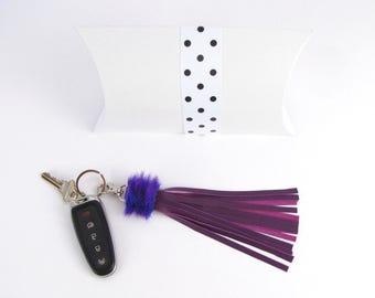 Violet Leather Tassel with Fur Trim
