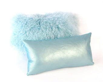 Light Blue leather Pillow ~ Italian Leather Pillow ~ Small Leather Pillow ~ Aqua Accent Pillow ~ Turquoise Leather Lumbar Pillow ~ Pearlized