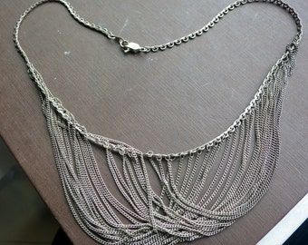 Cascade Silver Necklace - Bib Style - Multichain - Vintage - Excellent design.