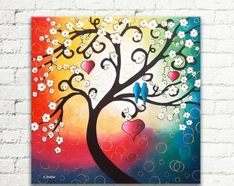 ON SALE Large Original Abstract Painting Cherry Blossom Tree of Life Love Birds Wall Art on Canvas 24x24