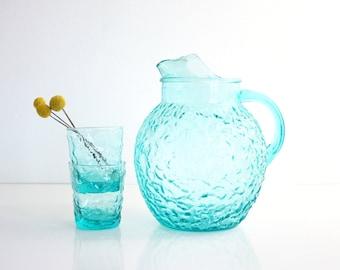 Vintage Aqua Blue Glass Pitcher / Mid Century Anchor Hocking Lido Pitcher / Aquamarine Pitcher by Anchor Hocking / Lido Ball Pitcher
