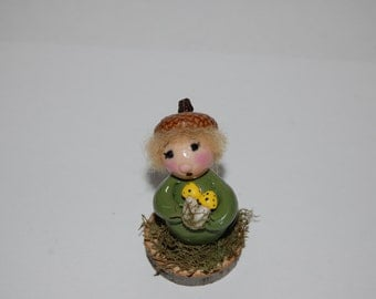 Little Polymer Clay Acorn Elf or Gnome with Toadstool Fairy Garden or Terrarium Decoration