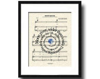 Moon River Song Lyric Sheet Music Art Print, Breakfast at Tiffany's Art Print, Song Lyrics in Spiral, Classic Movie Art Print