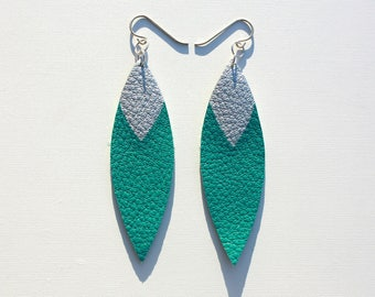Painted Leather Leaf Earrings - Teal Leather and Silver with Sterling Silver
