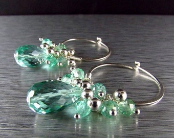 25OFF Aqua Quartz With Apatite Cluster Sterling Silver Hoop Earrings