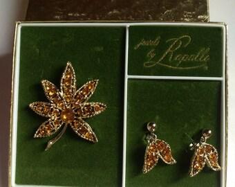 Jewels by Rapallo Vintage Rhinestone Brooch Earrings Set Citrine Gift Box