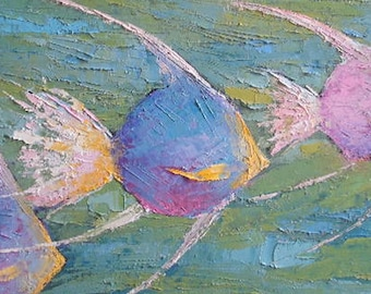 Angel Fish Giclee Print, Giclee Print on Canvas,  Choose Your Size, Free Shipping, Free Proof, No Frame Required