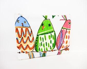 Bird Zipper Pouch, Fabric Pouch, Cute Zipper Pouch, Clutch, Cosmetic Bag, Pouch, Gift for Her, Gift Under 20, Colorful Birds Zipper Case