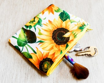 Sunflower Pouch, Floral Gift, Gift for Her, Teacher Gift, Grad Gift, Zipper Pouch, Pencil Case, Zipper Pouch, Coin Purse, Floral Pouch