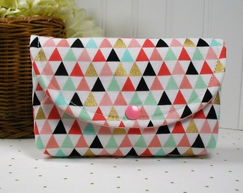 Snap Pouch, Large Snap Pouch, Cosmetic Pouch, Accessory Pouch... Triangles in Coral Mint and Gold