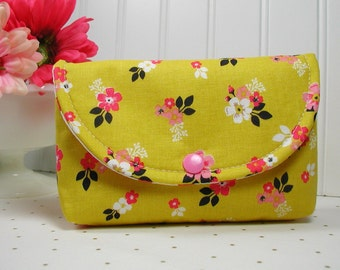 Snap Pouch, Large Snap Pouch, Cosmetic Pouch ... Vintage Daydream Gold Floral