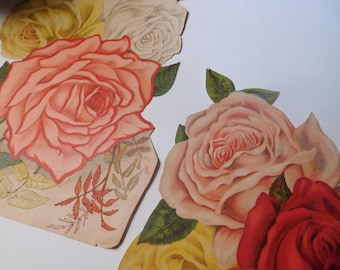 Vintage Paper Ephemera - Cabbage Roses - Mixed Media Art