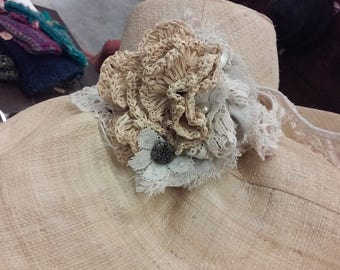 Wide Brim Linen Straw with Crocheted Raffia FLower Corsage Band