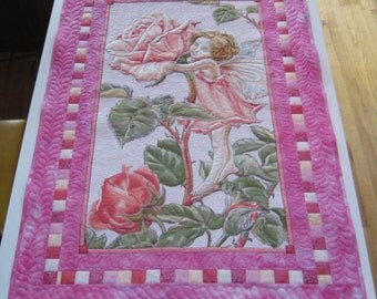 Flower Fairy Quilt with Large Rose Fairy Panel, crib size