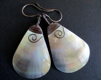 Mother of Pearl Shell Dangle and Drop Earrings Wire Wrapped Large Teardrop MOP Natural Shell Iridescent and Glossy Boho Beach Style Earrings