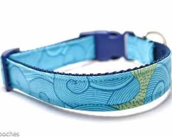 Beach Waves Dog Collar / Wave Rider in Teal / Martingale or Buckle / Beach Dog Collar