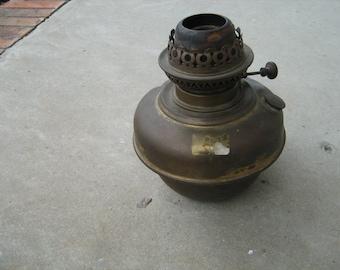 Antique copper or Brass British  veritas oil lamp