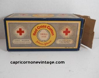Vintage Red Cross Cotton Full Box 1940 Johnson & Johnson Cotton Vintage Medical Supply Movie Prop Photo Prop Vintage Bathroom Decor