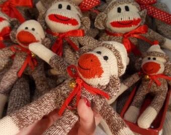 Handmade Miniature Sock Monkey, Pocket Sock Monkey, Redheel Socks, Collectible, Limited Edition, Doll Toy Plush Stuffed Animal, Geekery Toy
