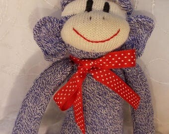 ON SALE Blue Jean Sock Monkey Doll, Soft Cuddly Blue Cream Monkey, Personalized, OOAK, Doll Toy Plush Stuffed Animal Play Child, Traditional