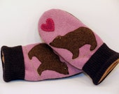 Sweater Mittens Recycled Bear Felted Wool in Lilac Red and Brown with Applique and Leather Palm Eco Friendly Upcycled  Size S/M