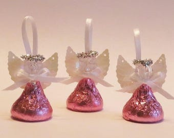 PINK or BLUE Chocolate Candy Angels - Set of 36 - Baptism First Communion Favor, Baby Bridal Shower, Wedding, Religious Favor, Christening,