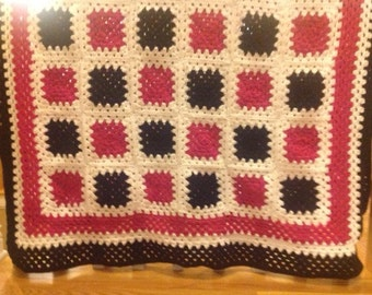 Happy Days Granny Square Afghan Heirloom Quality FREE SHIPPING