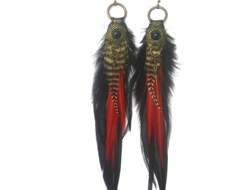 Divine Beauty feather earrings, Luxx Feather earrings,gypsy nomad, love warrior, tribal goddess by renegade Icon designs