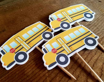Back to School Party - Set of 12 Double Sided School Bus Cupcake Toppers by The Birthday House