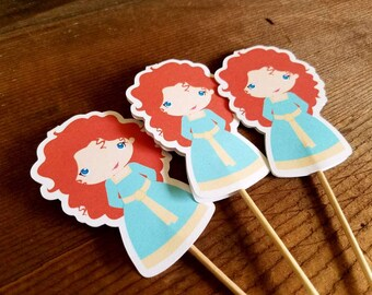 Brave Friends Party - Set of 12 Merida Cupcake Toppers by The Birthday House