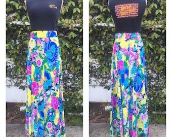 70s poly psycho floral boho maxi skirt, boho, hippie.
