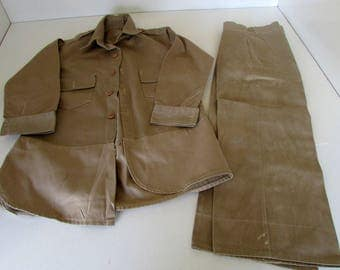 1950s Boys Uniform Khaki Pants and Shirt with Tab shoulders Pockets Long Sleeves