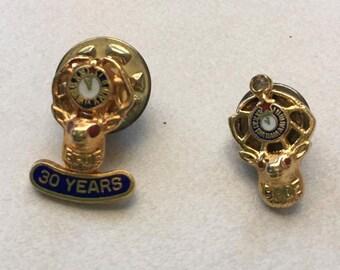 Vintage lapel pin Elks BPOE Elks Lodge 30 years Gold set of two