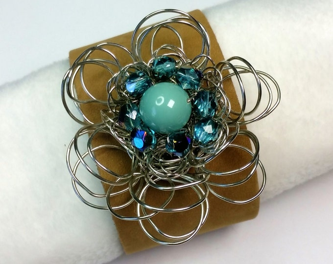 Flower Power Adjustable Leather Cuff with Silvery Wire Petals and Turquoise Center