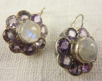 Vintage Sterling Amethyst and Rainbow Moonstone Handmade Earrings